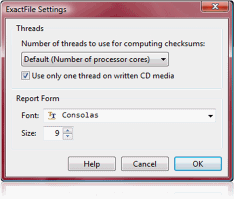 ExactFile application settings